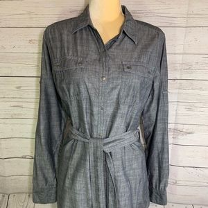 Columbia Gray Shirt Roll Tab Long Sleeve Tunic